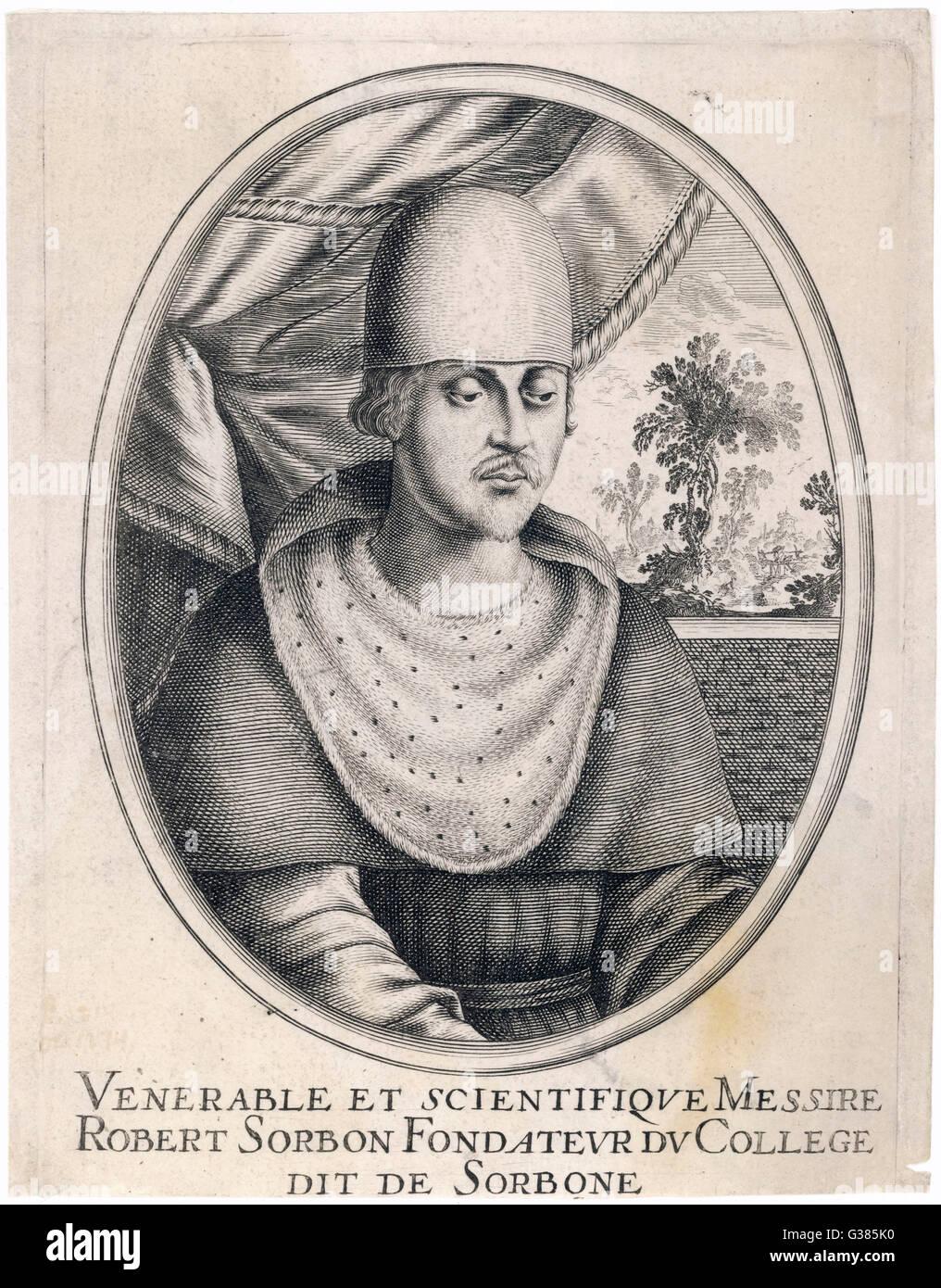 ROBERT DE SORBON  founder of the Sorbonne,  university at Paris       Date: 1201 - 1274 - Stock Image