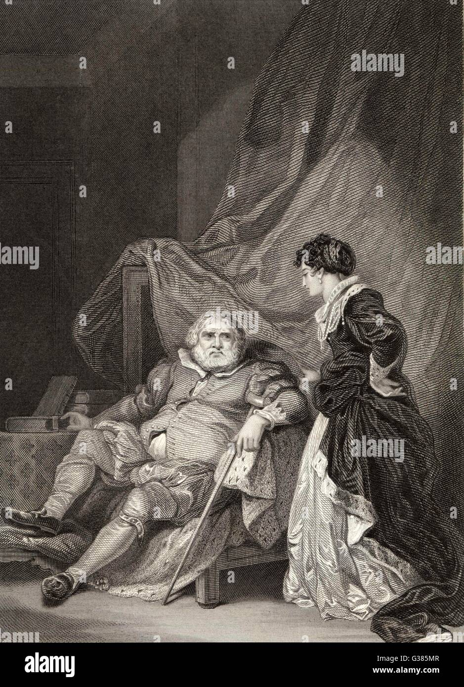 Catherine Parr with an aged  King Henry VIII - British  Royalty        Date: 1543 - Stock Image