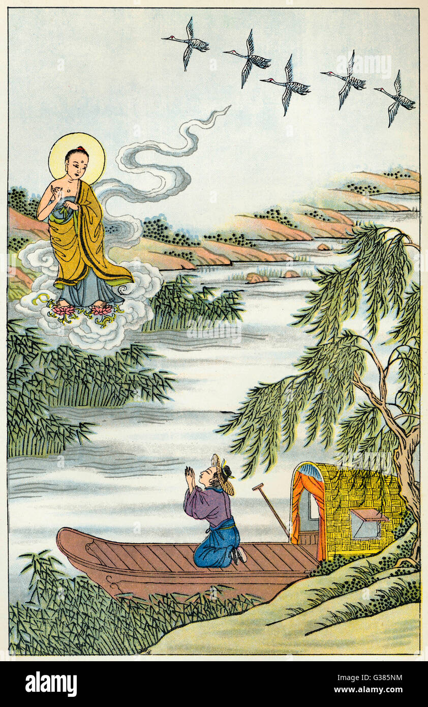 The Buddha, needing to cross  the Ganges, summons a little  cloud which dutifully ferries  him overStock Photo