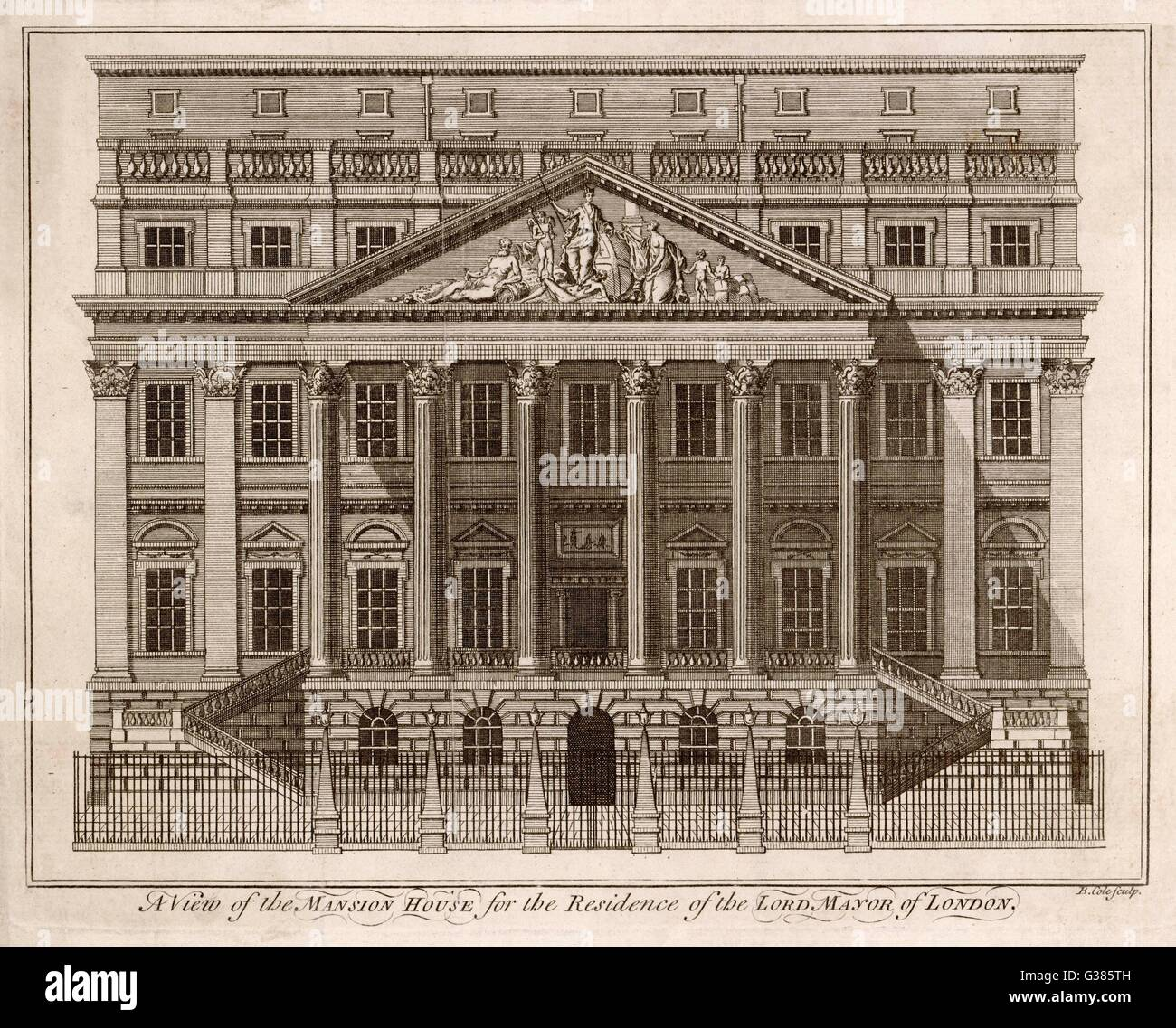 Mansion House, the residence  of the Lord Mayor of London.         Date: 1750 - Stock Image