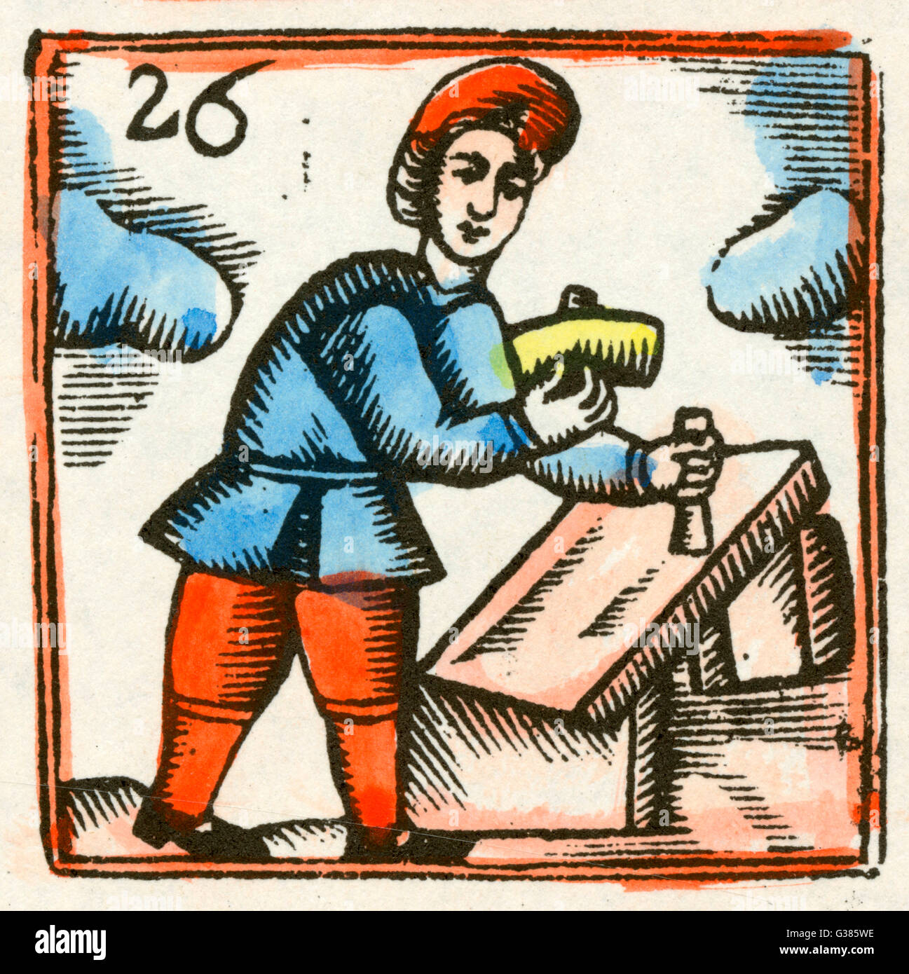 A stoneworker working  with hammer and chisel.        Date: 17th century Stock Photo