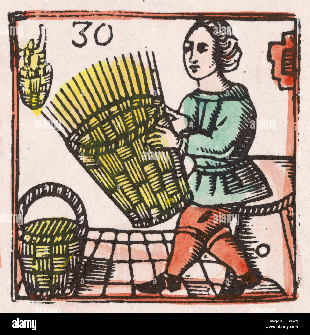 A basket maker at work on  a nearly completed basket.         Date: 17th century - Stock Image