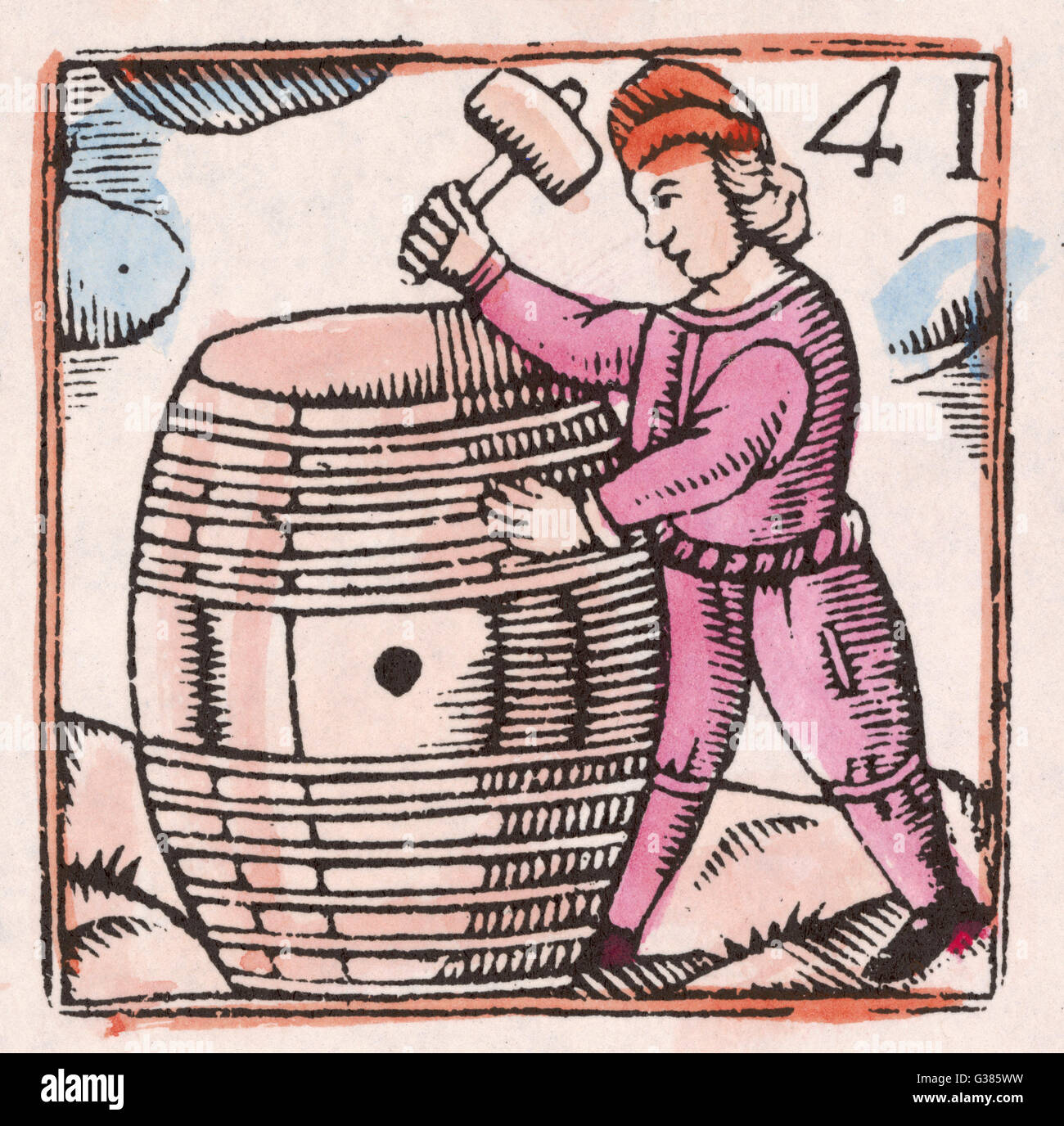 A cooper puts the finishing  touches to a wine barrel.        Date: 17th century - Stock Image