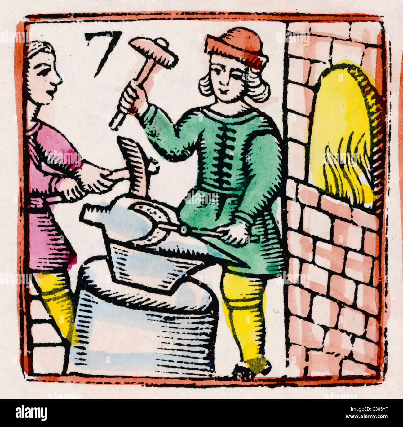 Two blacksmiths work with  hammers at an anvil, while  behind them their furnace  roars.      Date: 17th century - Stock Image