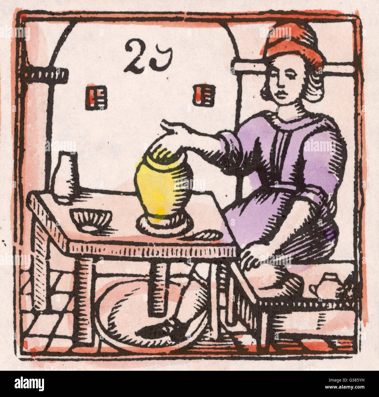 A potter at his wheel, turned  by his foot, puts the  finishing touches to an  elegant pot.      Date: 17th century - Stock Image