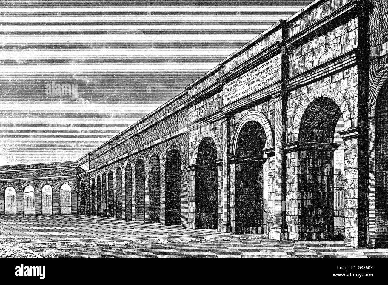 Reconstruction of the aqueduct  of Aqua Virgo         Date: circa 1902 - Stock Image