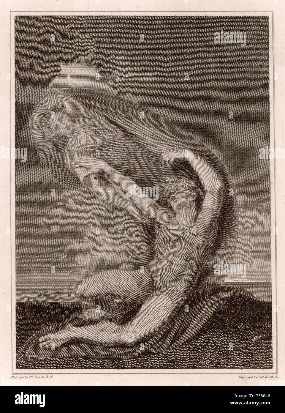 Achilles tries to seize the  ghost of Patroclus. - Stock Image