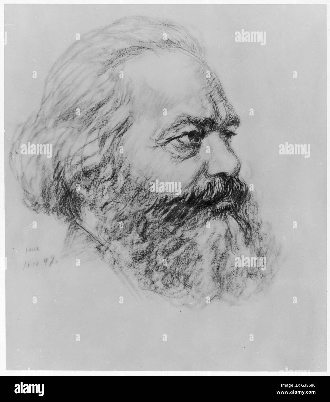 KARL MARX  German political theorist        Date: 1819 - 1883 - Stock Image