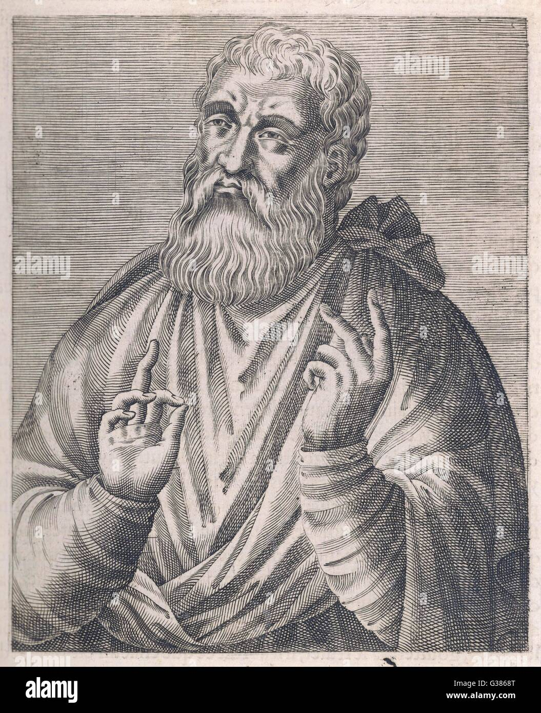 JUSTINUS  Philosopher and martyr        Date: 100 - 165 - Stock Image