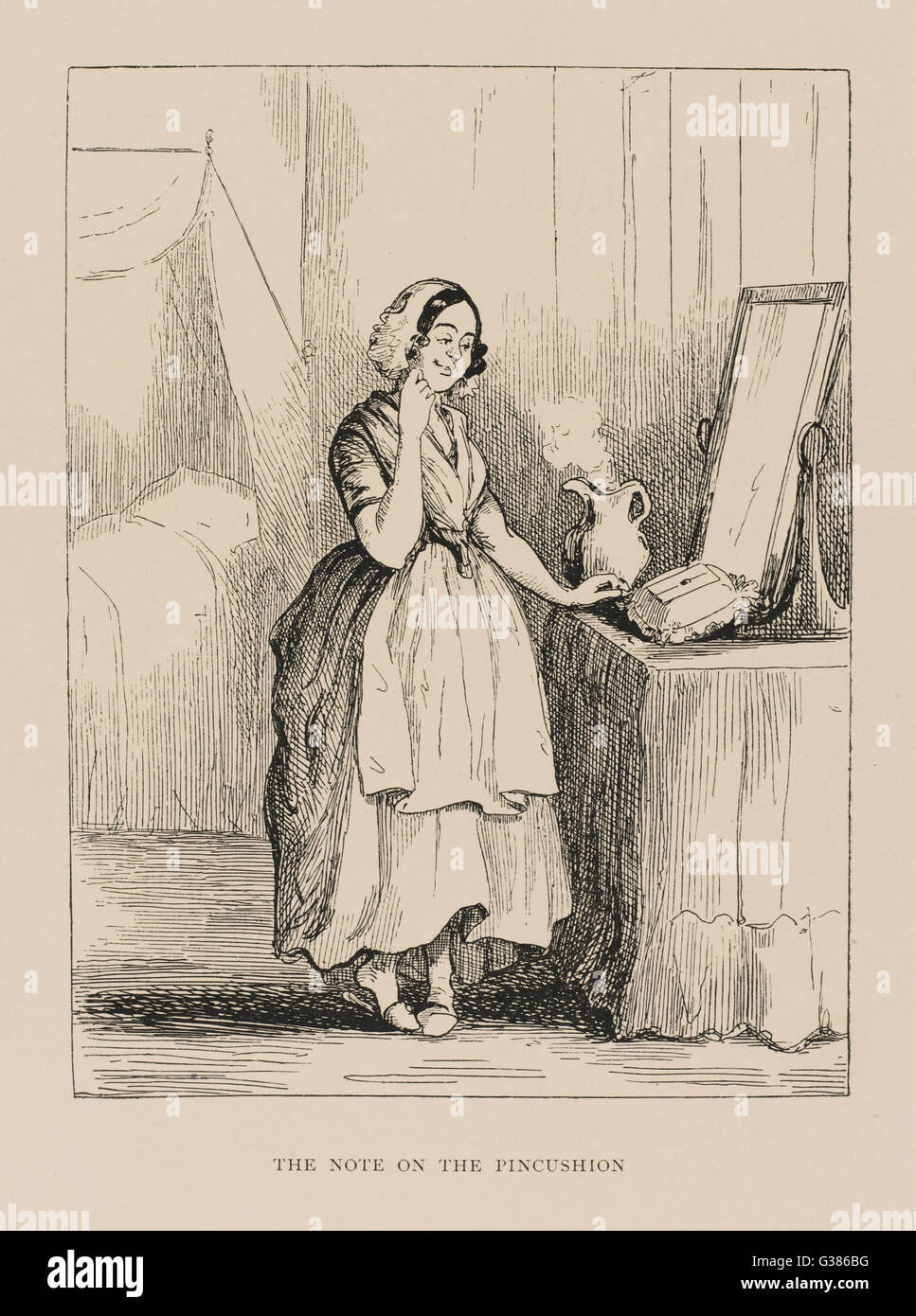 Betty discovers the note on  the pincushion.         Date: First published: 1848 - Stock Image