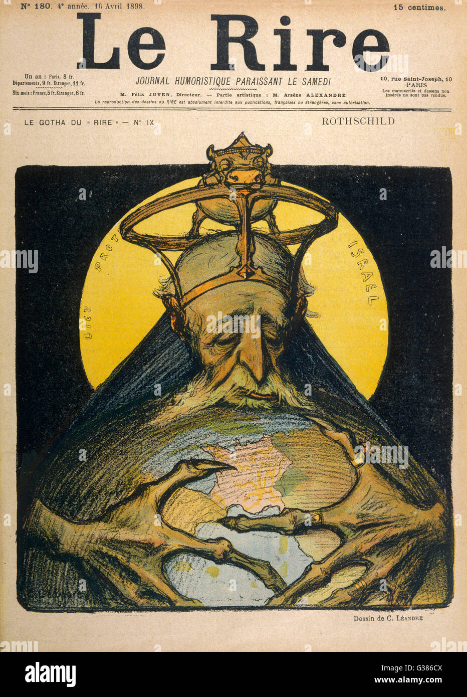ALPHONSE DE ROTHSCHILD  French banker, caricatured as  archetype Jew planning to take  over the world   1827 - 1905 - Stock Image
