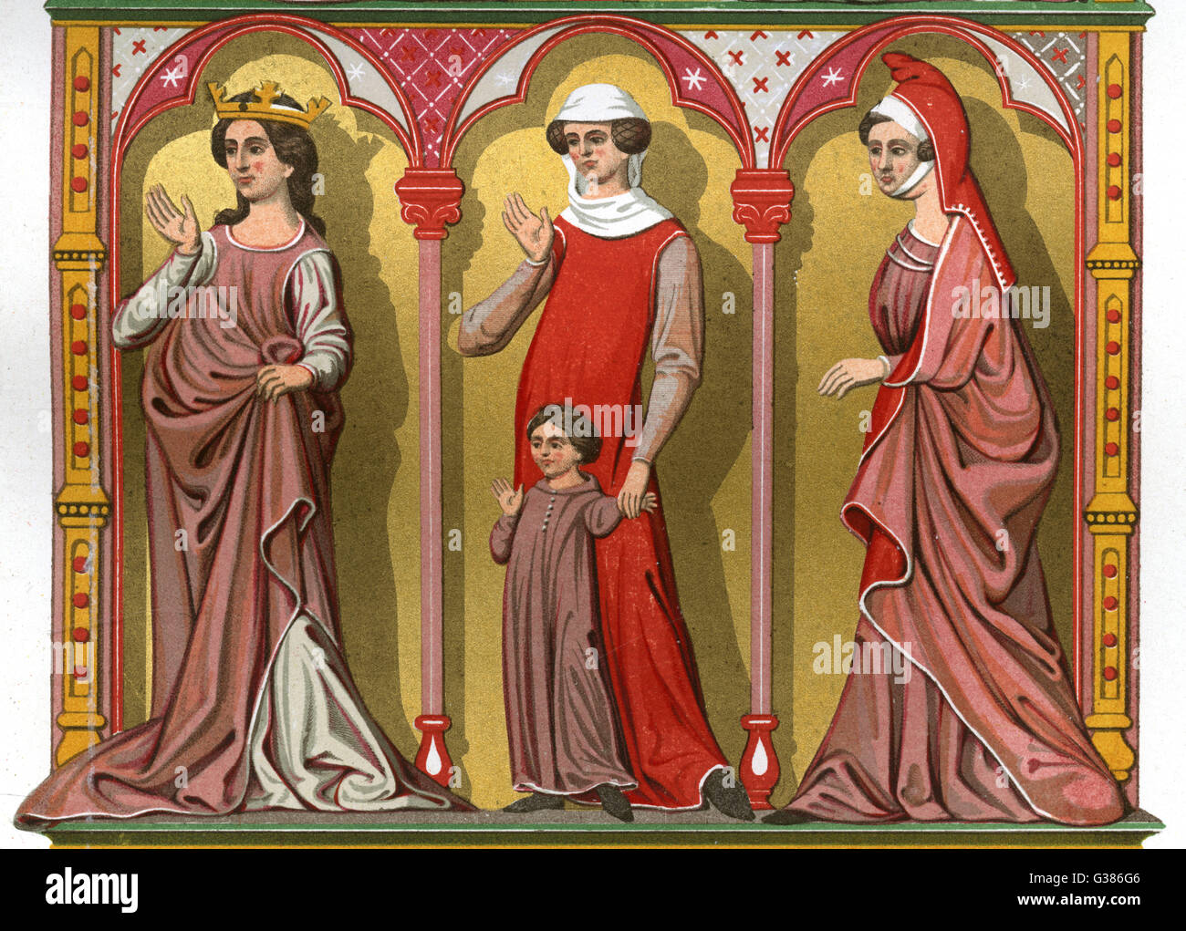 A Queen, Bourgeoise (with son)  and noblewoman        Date: 13th Century - Stock Image