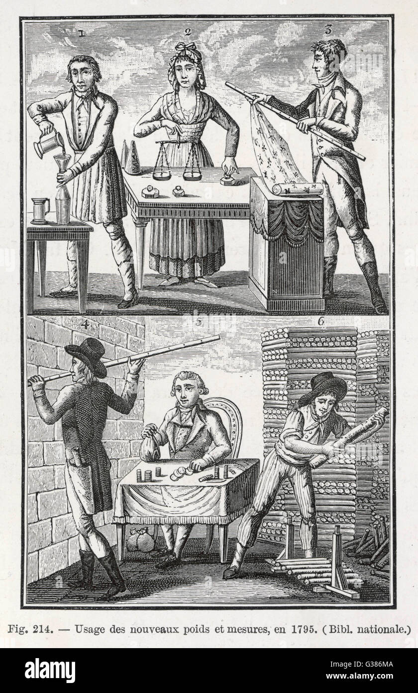 'Usage des nouveaux poids et  mesures' - the Metric System  is introduced in France by the  Revolutionary - Stock Image