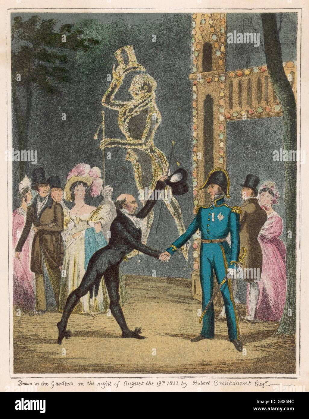 C. H. Simpson, Master of  Ceremonies, venerated with an  illuminated likeness at  Vauxhall Gardens.       Date: - Stock Image