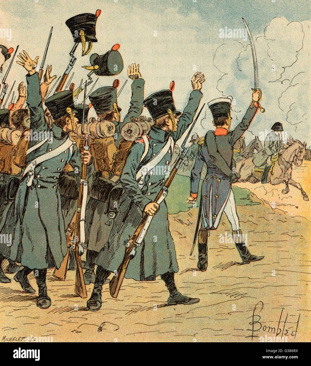 """'The rougher I treated them,  the louder they shouted """"Vive  l'Empereur !""""'        Date: 1815 Stock Photo"""