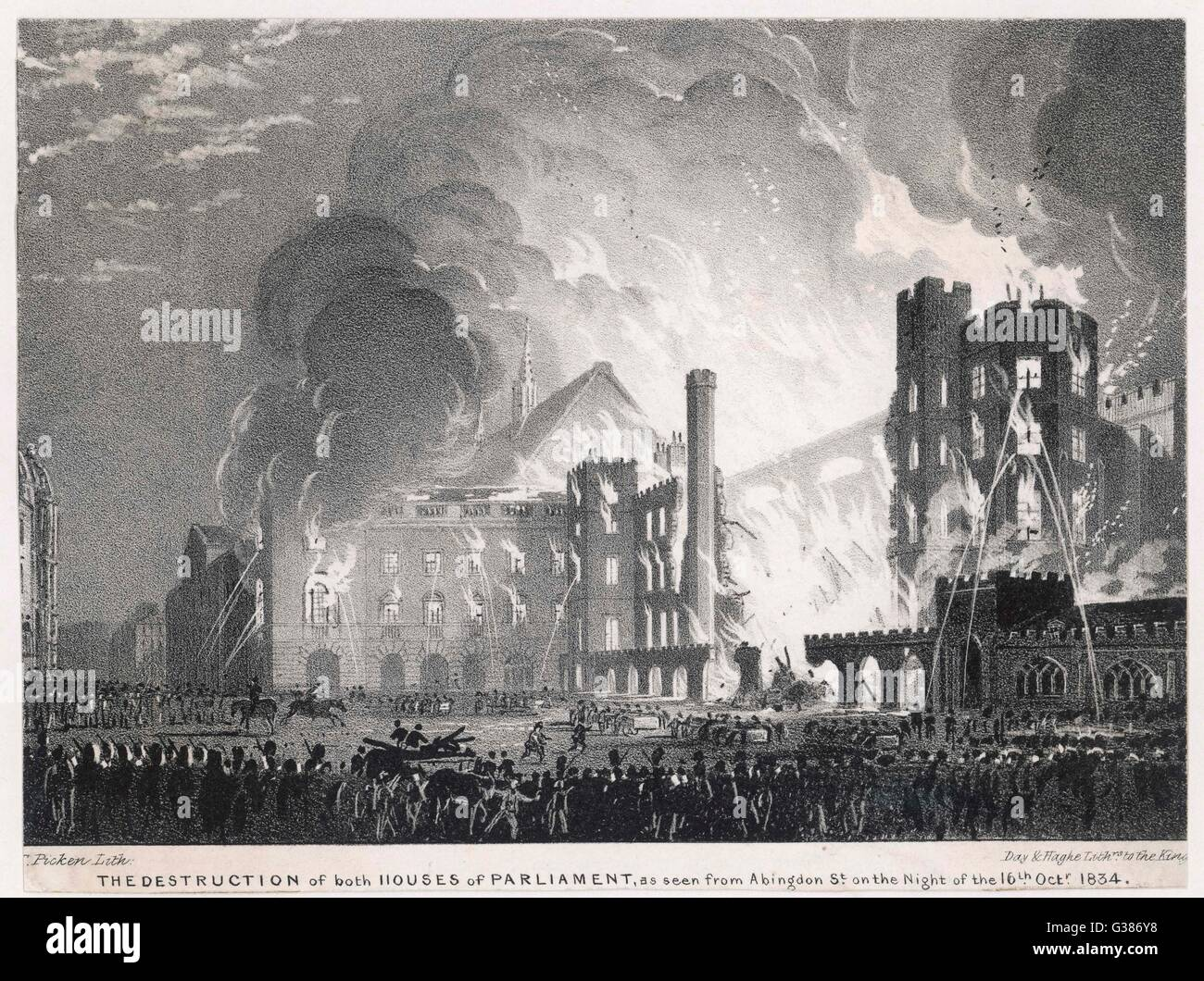 Parliament burning down.         Date: 1834 - Stock Image
