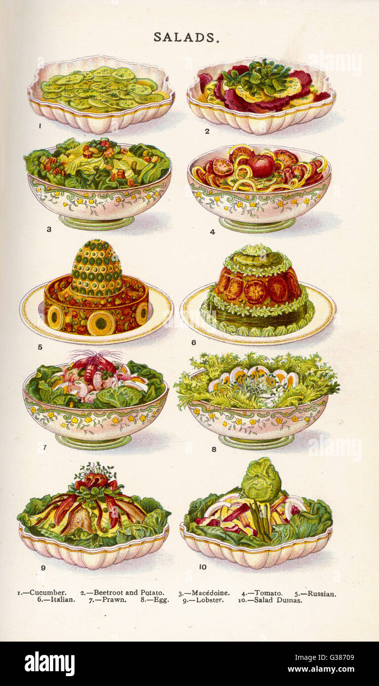 Salads in Household Management book     Date: 1907 - Stock Image