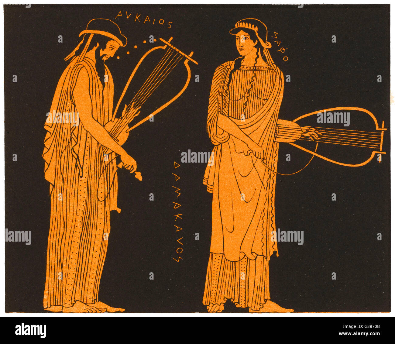 SAPPHO  Greek lyric poet with Alcaeus        Date: FL 610? - 580? - Stock Image
