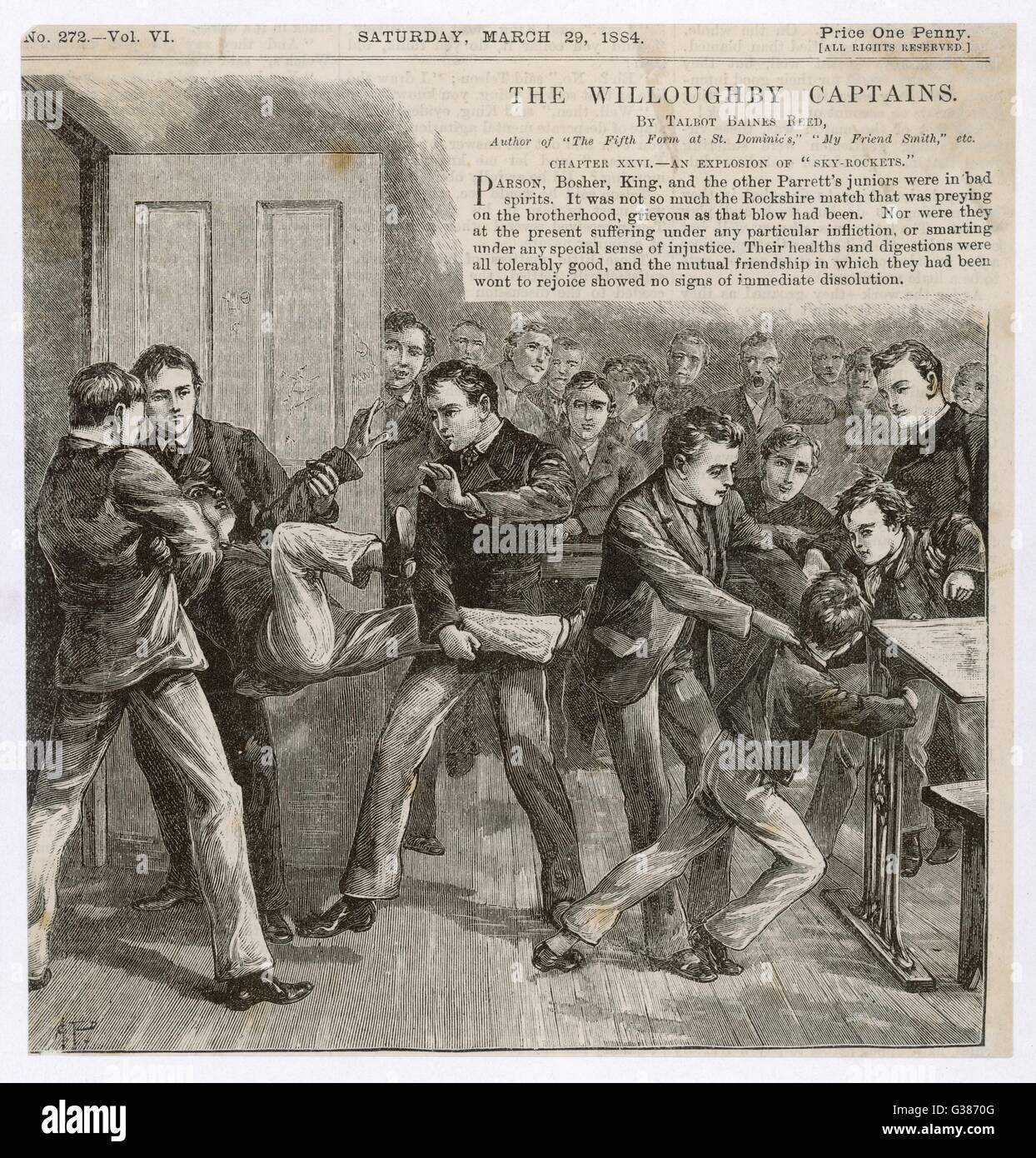 BULLYING  Boys bullying smaller schoolmates  at a Victorian school       Date: 1884 - Stock Image