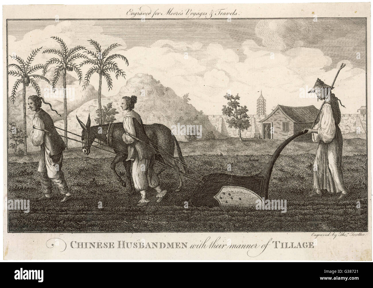 CHINA  Chinese ploughing technique        Date: circa 1770 - Stock Image