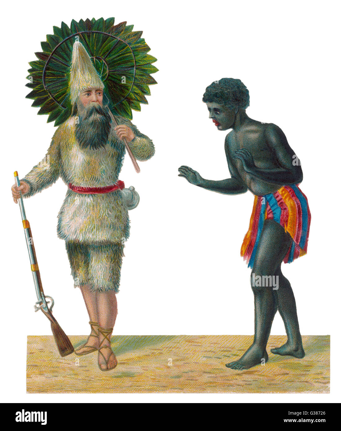 Robinson Crusoe and Friday.          Date: First published: 1719 - Stock Image