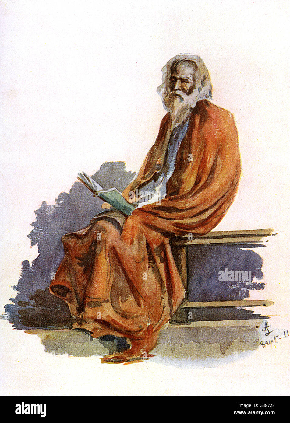 A learned Indian saddhu  (ascetic)         Date: 1914 - Stock Image