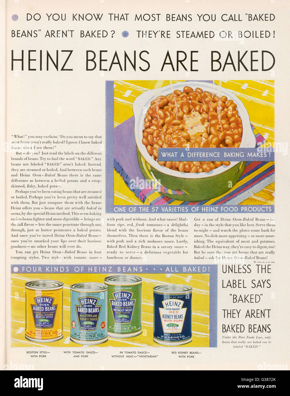 Advertisement for Heinz '57'  Baked Beans         Date: 1931 - Stock Image