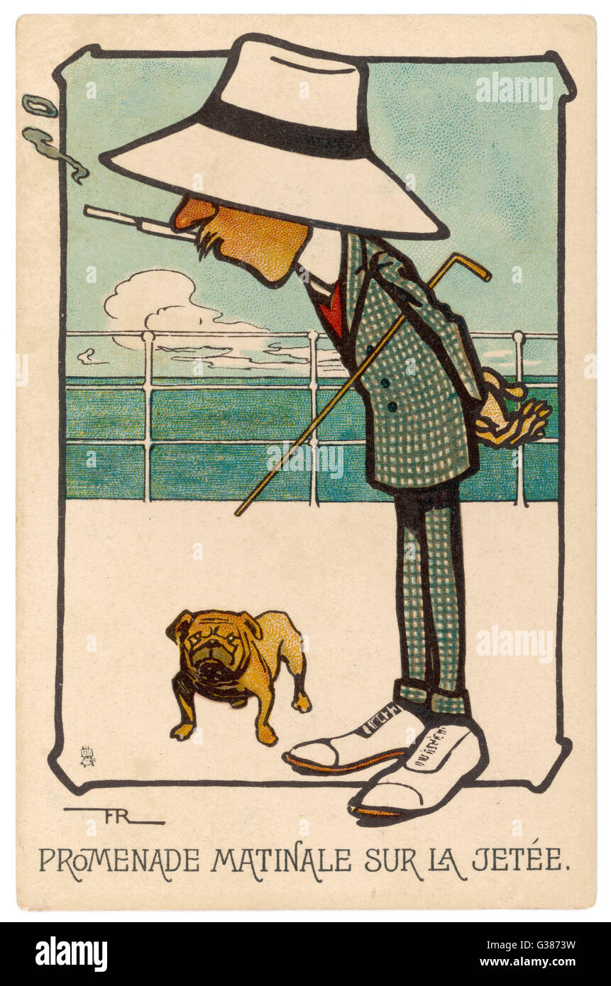 The French view of the  Englishman and his bulldog - Stock Image