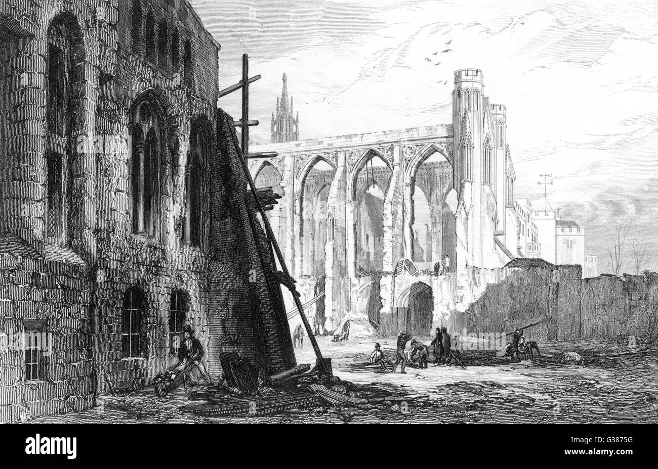 Clearing work, St. Stephen's  chapel, following the fire of  1834.       Date: 1834 - Stock Image