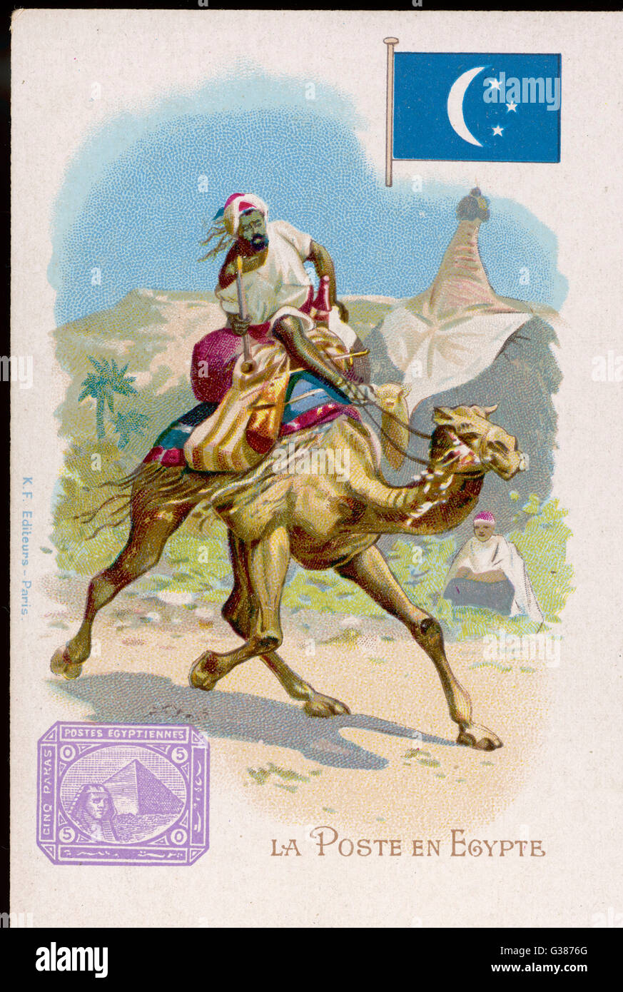 The Egyptian postman rides a  camel on his delivery round        Date: circa 1900 - Stock Image