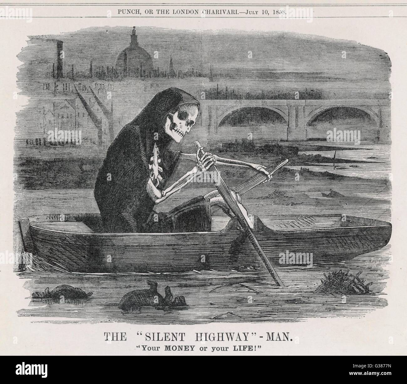 Death - 'The Silent  Highway-Man' of the polluted River Thames       Date: 1858 - Stock Image