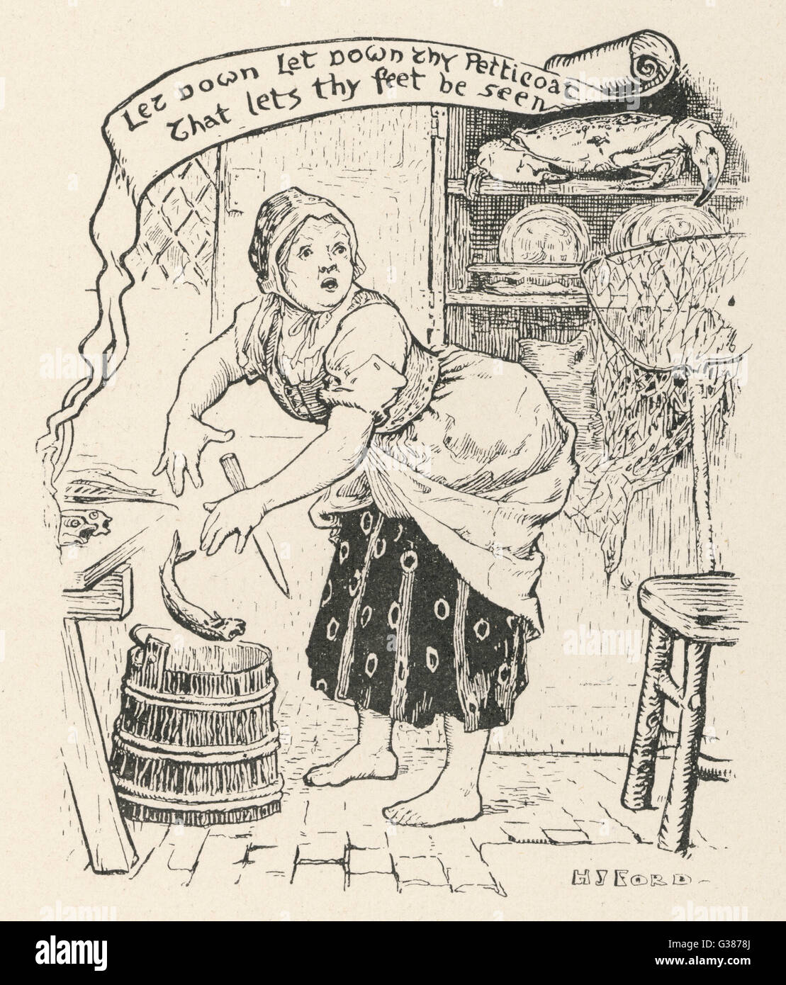 The fisherman's old wife is  astonished when the golden  crab sitting on a shelf in  her kitchen tells her to - Stock Image