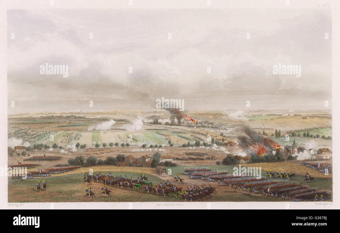 THE HUNDRED DAYS Battle of LIGNY Napoleon defeats Blucher        Date: 16 June 1815 - Stock Image