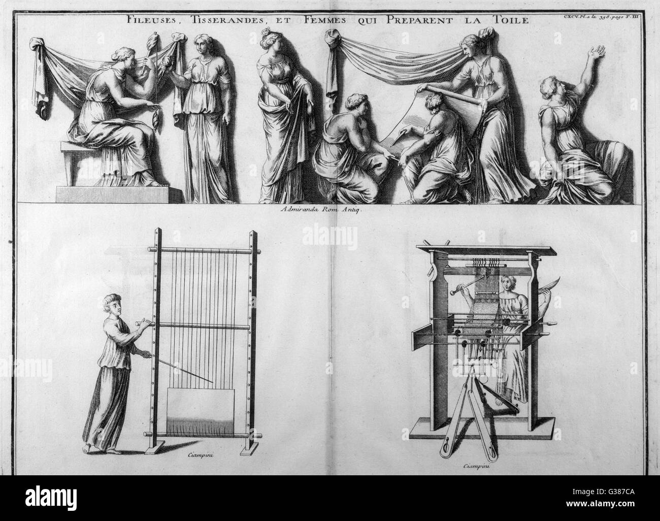 Roman women spinning and  weaving, depicted in  contemporary sculptures - Stock Image