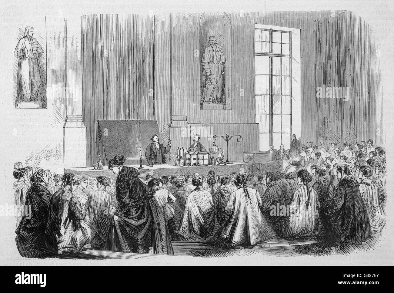 Lectures in Physics for girls  at the Sorbonne, Paris        Date: 1867 - Stock Image