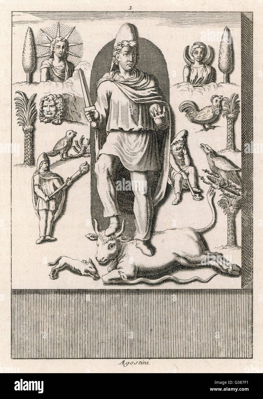 MITHRAS with associated emblems  and attributes - Stock Image