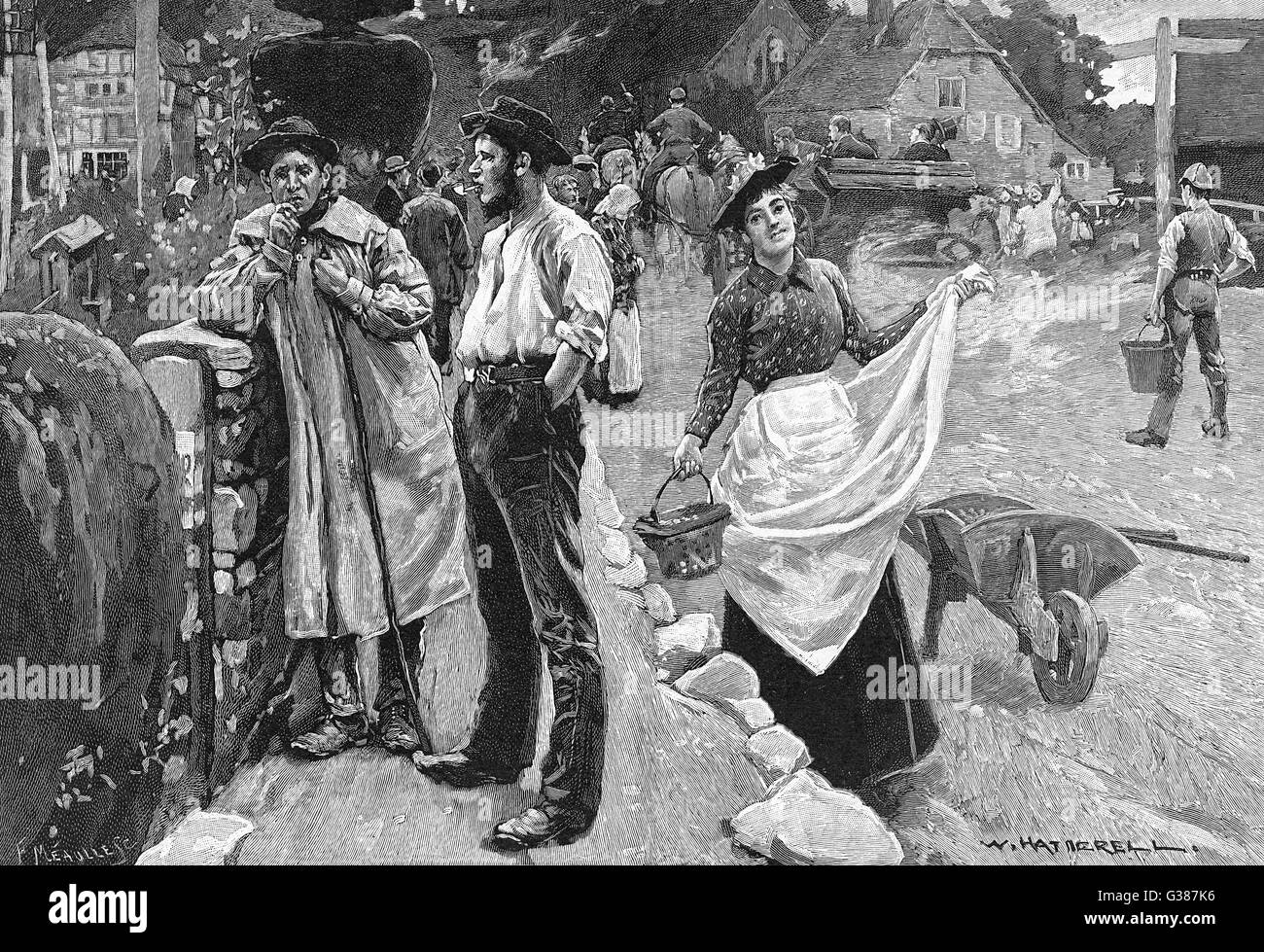 A village scene as country  folk go about their business        Date: 1893 - Stock Image