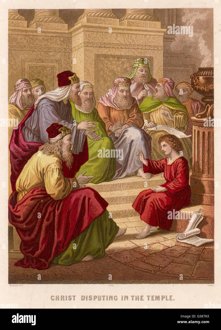 The young Jesus debates  theology with the doctors of  the Temple at Jerusalem - Stock Image