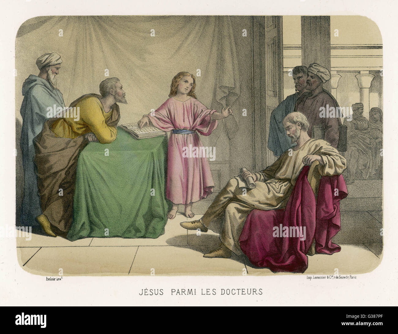 Jesus discusses theology with  the doctors in the Temple at  Jerusalem - Stock Image