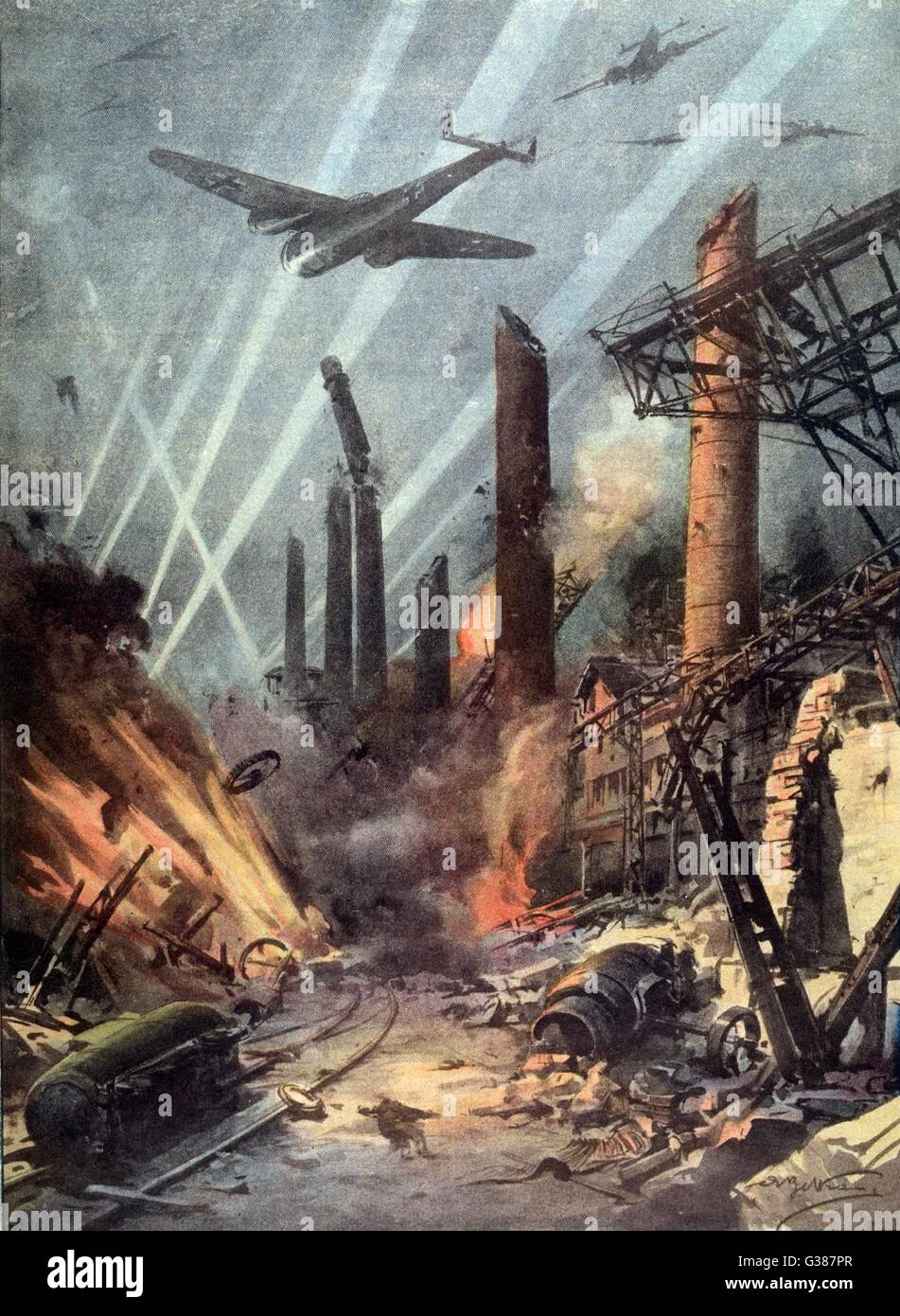 German bombers destroy the  armaments factories at  Sheffield        Date: December 1940 - Stock Image