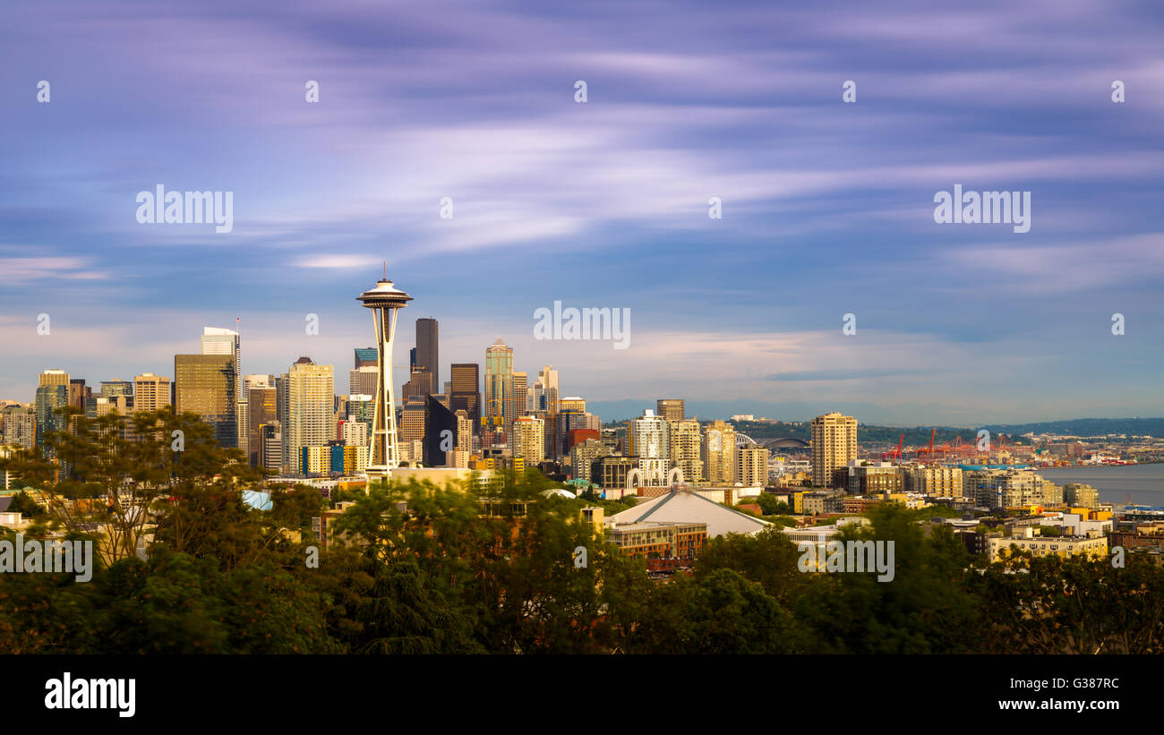 Space Needle and skyline in Seattle, Washington, USA - Stock Image
