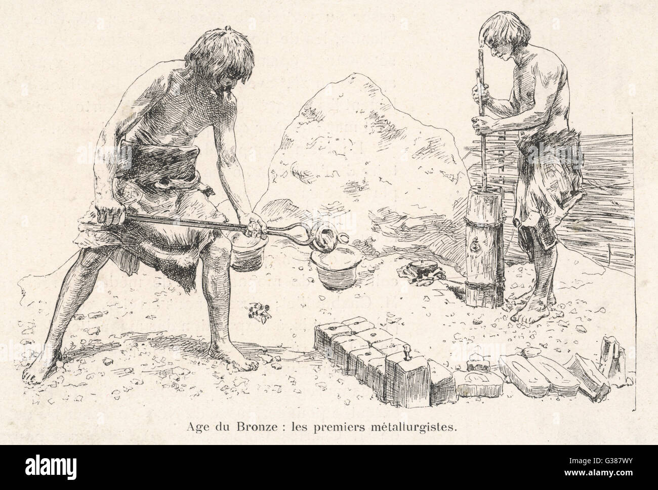 Bronze Age metal workers         Date: circa 2000 BC - Stock Image