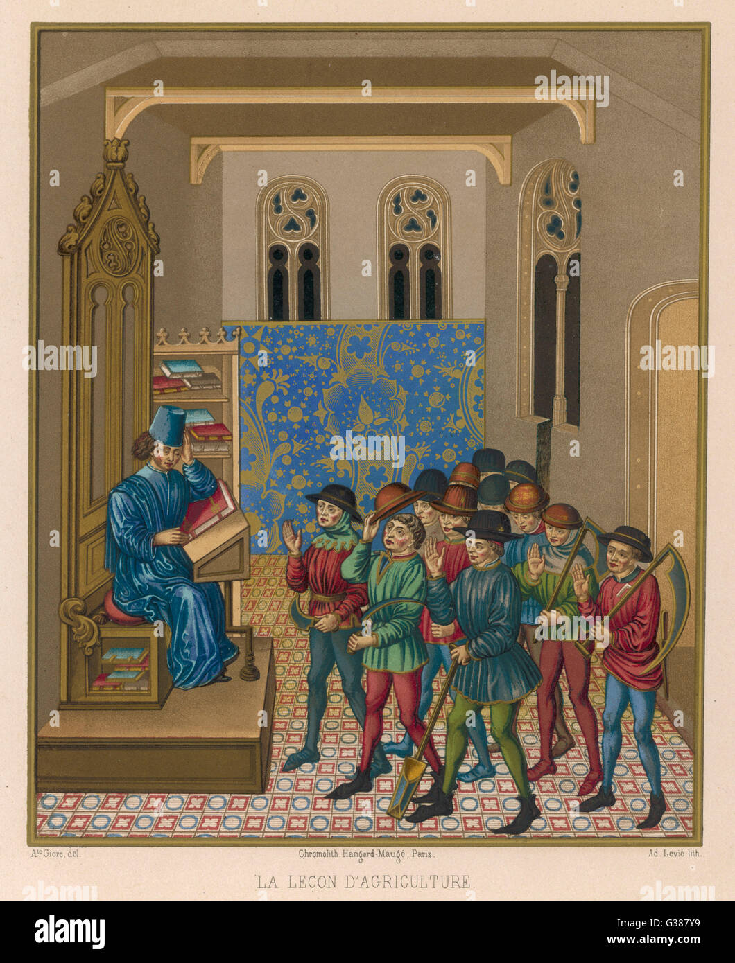 A group of farmworkers receive  instruction in agricultural  methods        Date: 15th century - Stock Image