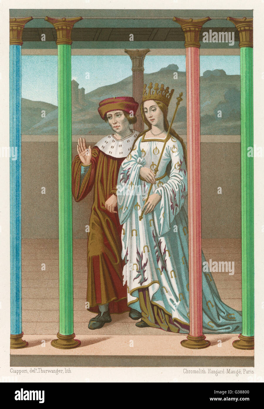 Allegorical representation of  Philosophy (the lady)  accompanied by the writer and  philosopher, Boece       Date: - Stock Image