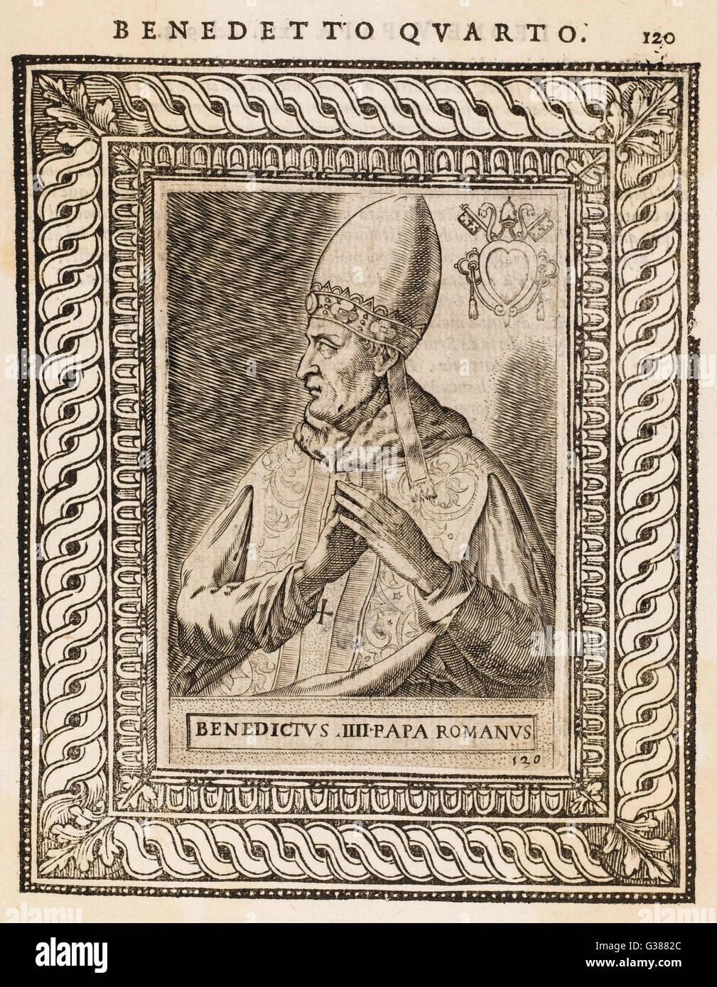 POPE BENEDICTUS IV          Date: reigned 900 - 903 - Stock Image