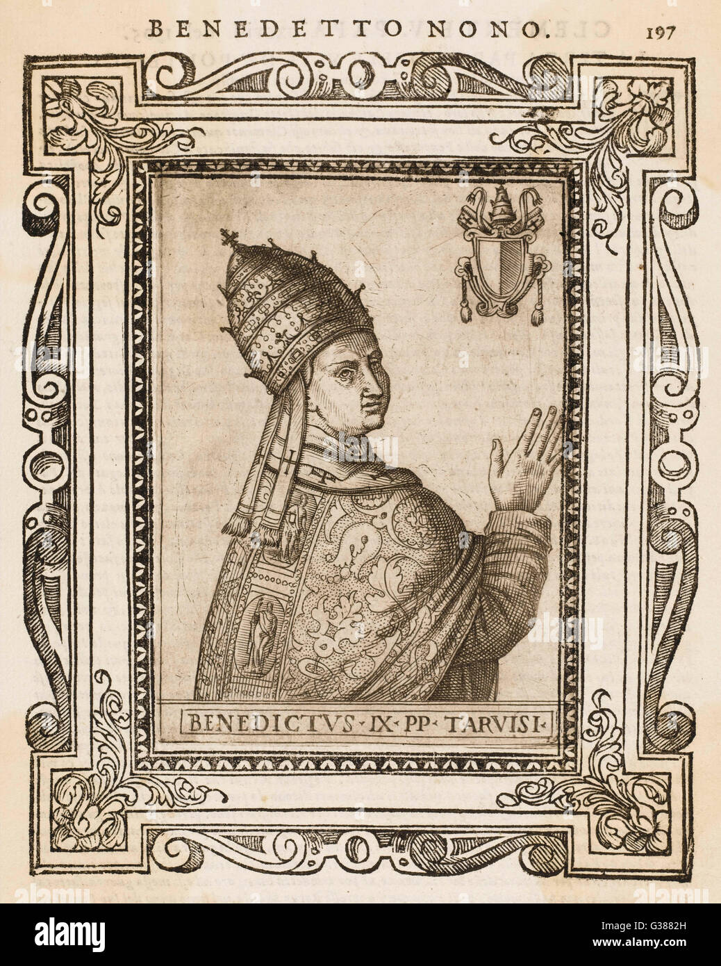 POPE BENEDICTUS IX He sold the papacy to  Gregorius VI, but later  resumed the papacy for a few  further months, - Stock Image