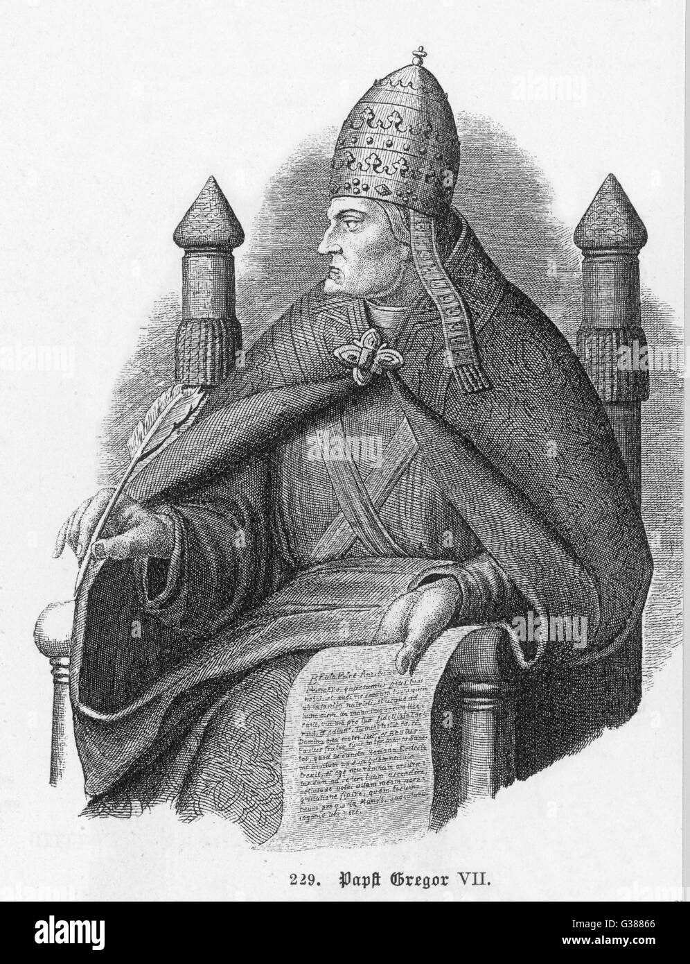 POPE GREGORIUS VII (Hildebrand) pope and saint, noted for his  quarrel with emperor Heinrich  IV whom he compelled - Stock Image