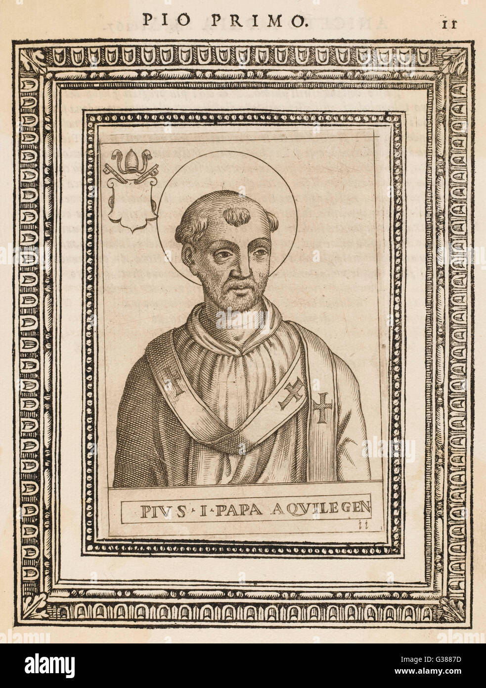 POPE PIUS I  pope and saint        Date: reigned 140or142 - 155 - Stock Image