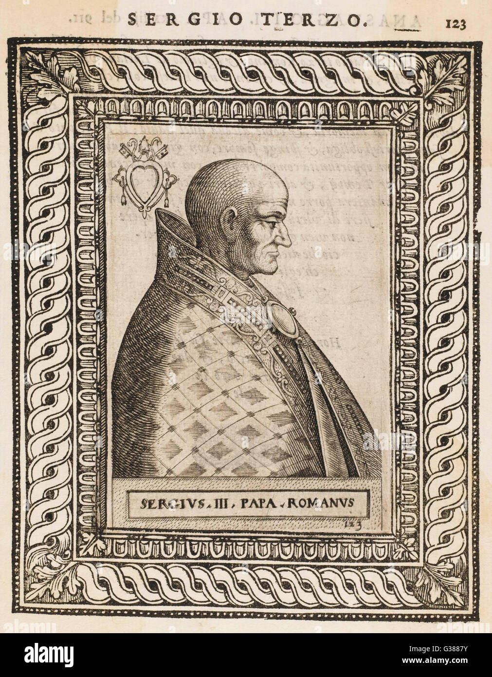 POPE SERGIUS III          Date: reigned 904 - 911 - Stock Image