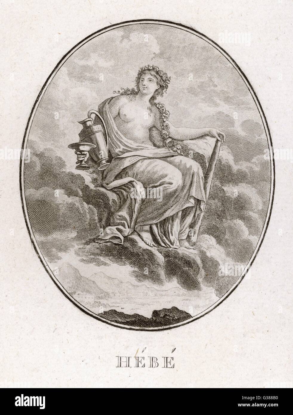 Daughter of Zeus and Hera,  Hebe was the Greek goddess of  youth ; she lived on Mount  Olympus, and was cupbearer - Stock Image